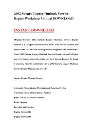 2002 subaru legacy outback service repair workshop manual download