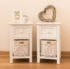 storage unit with wicker baskets pair of white wicker bedside units