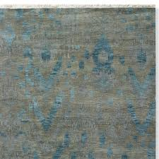 Grey And Turquoise Rug Deep Sea Ikat Hand Knotted Rug Williams Sonoma