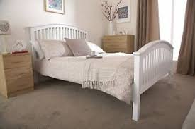 new shaker style wooden bed in oak or white curved headboard high