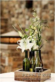 Wine Bottle Centerpieces Centerpiece Wooden Box With Custom Wine Bottles And Simple White