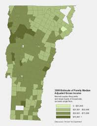 Map Of Vermont Towns Family Median Adjusted Gross Income Public Assets Institute