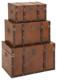 Leather Home Decor by Classic Style Wood Leather Antique Finish Trunk Set 3 Storage Home