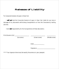 Document Release Form Template release of liability form template 8 free sle exle format