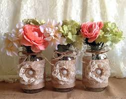 3 rustic burlap and lace covered mason jar vases wedding bridal