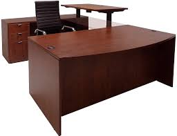 Computer Desk With Adjustable Height by Electric Lift Adjustable Height Cherry U Desk W Hutch