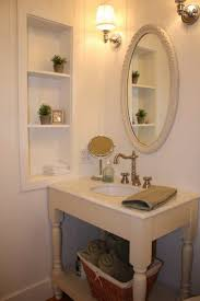 Bathroom Shelves Bathroom Luxury Bathroom Shelves On White Wooden Wall With Oval