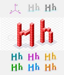 isometric font from the cubes letter h vector stock vector