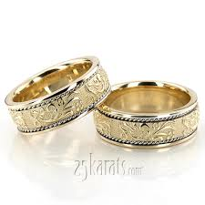 carved bridal wedding band sets his and hers wedding bands matching wedding