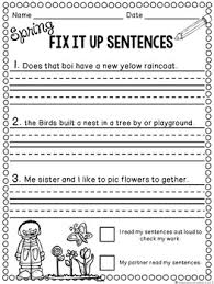 editing sentences first grade capitalization punctuation spelling