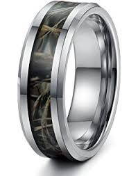 Mens Hunting Wedding Rings by Black Ceramic Men U0027s Hunting Camo Ring Comfort Fit Band 8mm