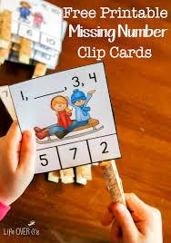 free missing number clip cards for kindergarten