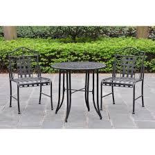 Iron Bistro Table Set Mandalay 3 Piece Iron Patio Bistro Furniture Set Antique Black