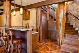 log pillars basement rustic with wood staircase traditional vacuum
