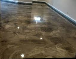 basement flooring metallic epoxy finish stained concrete