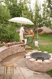 Firepit Seating Rumblestone Seat Wall And Pit Kit Installation