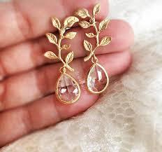 gold earrings for wedding gold leaf earrings bridal earrings modern wedding jewelry gold