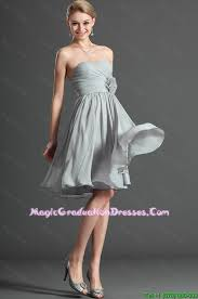 best graduation dresses ruching and made flower grey best graduation dresses