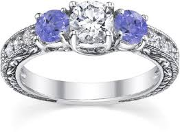 tanzanite engagement ring antique style tanzanite and engagement ring 14k white gold