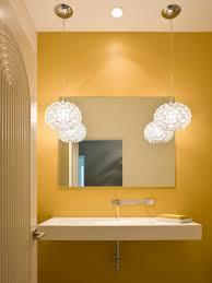 grey and yellow and blue bathroom bold cream tile floor three