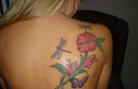 upper side back cover up with simple hibiscus flower tattoo design