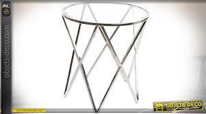 table bout de canap en verre design bout de canapé design en métal brillant argenté avec plateau en