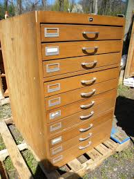 nice vintage 70s 10 drawer wood storage cabinet perfect for