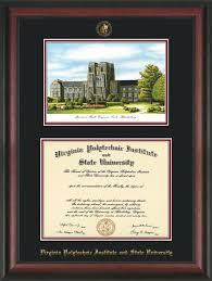 virginia tech diploma frame vt diploma frame rosewood w vt burruss black on maroon mat