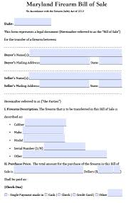 free maryland firearm gun bill of sale form pdf word doc