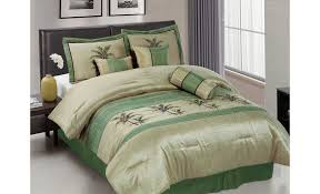 Green And Black Comforter Sets Queen Queen Bedding Sets Green Sage Green Embroidery Green Palm Tree