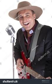 male country singer red guitar retro stock photo 98179544