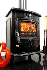 cast iron enamel enameled wood burning stove matt black or black
