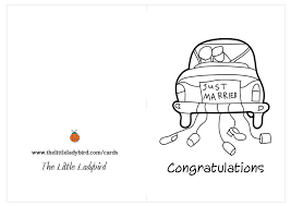 Just Married Cards Free Greeting Cards Coloring Pages Thelittleladybird Com