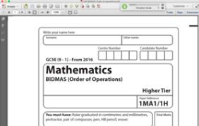 gcse maths mini exam paper bidmas order of operations by