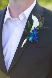 Royal Blue Boutonniere Peacock Feather Wedding Flowers Kimberly U0027s Inspiration Board