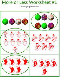 more or less christmas comparing worksheets for preschool and