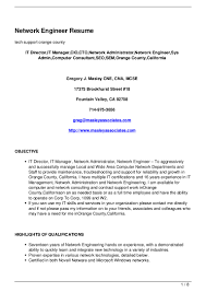 System Engineering Resume Computer Network And Systems Engineer Resume Free Resume Example