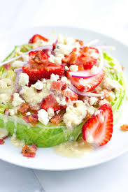 strawberry iceberg salad with blue cheese vinaigrette
