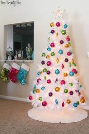 White Christmas Tree Decorated Shiny Brite Ornaments On A White Tree Holiday Pinterest