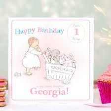 personalised first birthday card u0027pink u0027 by august u0026 grace