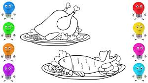 draw chicken fish coloring book pages drawing colored