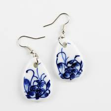 original earrings original made ceramic jewellery national wind blue and white