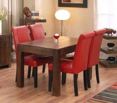 rustic kitchen table with red chairs red dining room table and