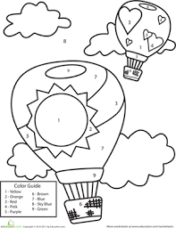 color by number air balloons worksheet education com
