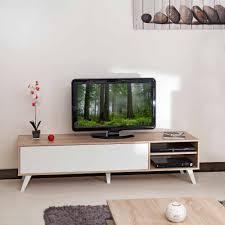 Meuble Tv Longueur Maison Et Mobilier D Intérieur Meuble Tv Bas En Bois Avec 1 Abattant Et 2 Niches Prism Panneaux