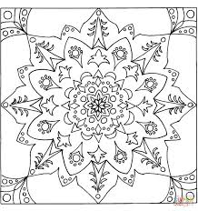square mandala with traditional pattern coloring page free