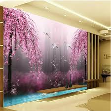 bedroom mural romantic purple peach crane lake wall art background photography