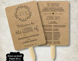 kraft paper wedding programs wedding fans etsy