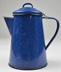 Coffee Pot vintage 6 cup blue enamel coffee pot 7 75