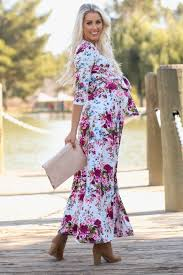 maxi dress ivory floral draped 3 4 sleeve maternity maxi dress